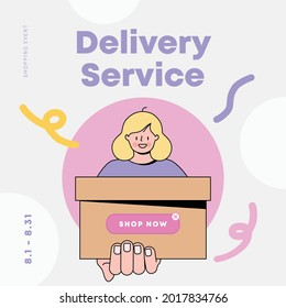 Woman holding a box. delivery service. shopping event. Vector illustration.