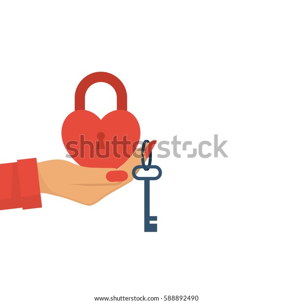 A woman holding a closed red padlock in the form of a heart and key hanging on a finger. An offer of marriage. Vector illustration flat design. Isolated on white background.