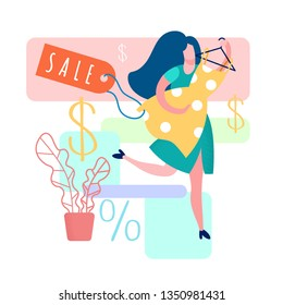 Woman Holding Dress Cartoon Vector Illustration. Gown Boutique, Showroom. Percentage Discount for Customers. Sale Tag. Cheap Womens Clothes. Happy Girl Shopping. House Plant in Pot