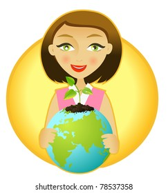Woman holding the earth with plant sprouting out of it.