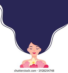 Woman Holding Flowers Flat Vector illustration. International Women's Day Concept.
