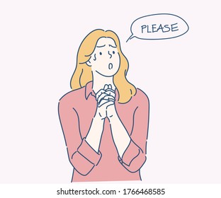 Woman holding hands in prayer and asking for help with pleading imploring expression. Hand drawn in thin line style, vector illustrations.