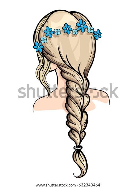 Woman Holding Her Braid set of hairstyles. Bridal hairdo. Hand drawn