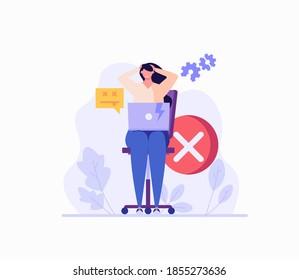 Woman holding her head near a broken computer. Concept of repairmen, repair computer, laptop, fix app, broken equipment, quick repair. Vector illustration in flat design