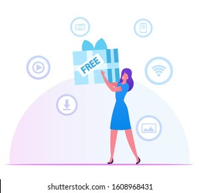Woman Holding Huge Wrapped Gift Box in Hands with Media Icons for App around. Girl Using Free Download Internet and Torrent Network Services. Wireless Wifi Connection. Cartoon Flat Vector Illustration