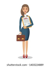 Woman Holding Legal Document Flat Illustration. Financial Advisor, Lawyer, Auditor Cartoon Vector Character. Business, Company Checking. Serious Businesswoman, Careerist, Female Office Worker