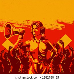 Woman holding megaphone with large crowd of women with their hands raised in the air propaganda style illustration. Retro revolution poster design.
