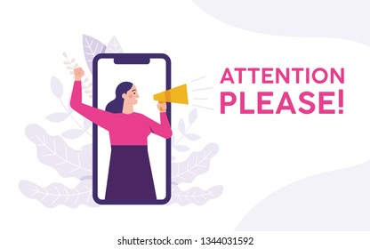 woman holding a megaphone and shouting attention please, woman standing on the phone and holding megaphone, attention please word vector illustration concept