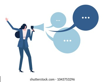 Woman holding megaphone with talking bubbles. vector illustration