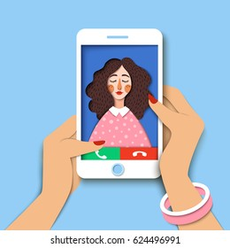 Woman holding mobile phone. Incoming call on smartphone screen. Close up hands hold cellphone, receiving phone call from friend. Creative paper art, concept of world global communication, Vector