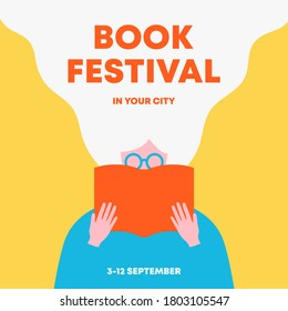Woman holding an open book and reading. Poster for books festival, education, culture festival day, library or other reading or literature event. Front view. Trendy flat vector illustration.