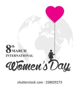 woman holding pink balloons set on white background | World earth globe in isolated background | 8th march International women's day