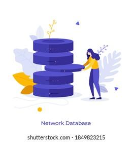 Woman holding server hardware. Concept of network database, web technology for information management, organization and storage, hosting service. Modern flat vector illustration for banner, poster.