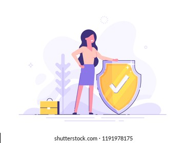Woman is holding a shield covering from attacks. Protection, insurance,  from business  dangers concept. Modern vector illustration.