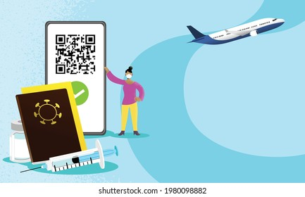 Woman holding smartphone with QR code on screen. Concept of authorization of travel with vaccine passport and digital sanitary pass, European Green Pass.  International Certificate of vaccination.