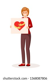 Woman holding transporant with heart. Flat style vector illustration. Colorful red hug sign logo on poster