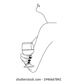Woman Holding Wineglass in a Minimal Trendy Linear Style . Vector Fashion Illustration of Female Figure in Profile.