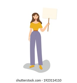 A woman holds a banner in her hand, a woman is on strike. Women's rights, LGBT rights. Flat trend vector illustration