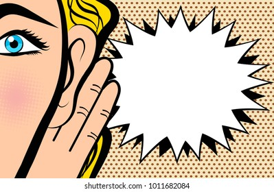 Woman holds her hand near ear and listening in pop art comic style on dot background, stock vector illustration