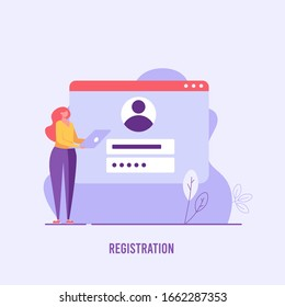 Woman holds laptop. Registration or sign up user interface. Users use secure login and password. Concept of online registration, sign up, user interface. Vector illustration for UI, web banner, app
