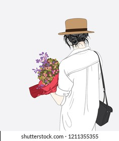 A woman holds many flowers For a large gift, the couple gave her an anniversary.Doodle art concept,illustration painting