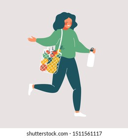 Woman holds reusable cup and eco bag with fresh food. Cute girl  is Shopping without waste. Vector illustration