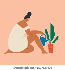 Woman at home watering house plants, leisure indoor activity during period of coronavirus quarantine, self isolation and social distancing illustration in vector.
