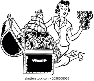 Woman With Hope Chest - Retro Clip Art Illustration