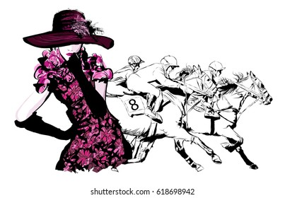 Woman in a horse racecourse  - vector illustration