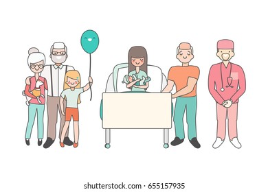 Woman in hospital with newborn baby. Vector illustration in linear style design. Cartoon people characters in patient room. Relatives and doctors congratulate girl who just gave birth. Family concept.
