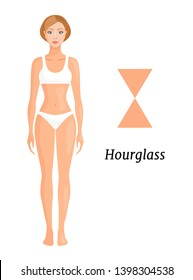 Woman with an hourglass shape isolated on white. Vector banner showing the type of figure. Body structure.