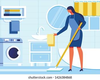 Woman Housekeeper Cleaning Bathroom. Housewife in Apron Moping Floor, Straightening Towel on Sink. Flat Interior. Cartoon Female Character. Relevance Household Appliances Usage. Vector Illustration