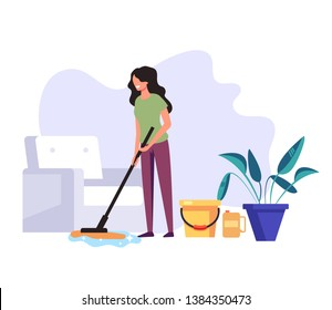 Woman housekeeper housewife cleaning company worker clean wash floor in house living room. Cleaning service concept. Vector flat graphic design cartoon illustration