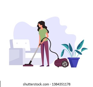 Woman housekeeper housewife cleaning company worker clean vacuuming wash floor in house living room. Cleaning service concept. Vector flat graphic design cartoon illustration