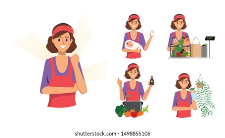 Woman in housewife character and mother. Maid house routine.