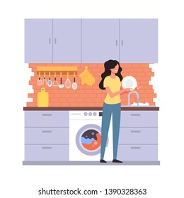 Woman housewife character washing dish plate. House work home interior concept. Vector flat graphic design cartoon illustration