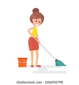 Woman housewife mopping floor