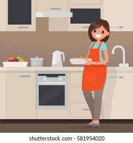 Woman housewife preparing food in the kitchen. Vector illustration in a flat style