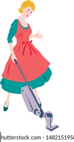 Woman housewife removes dust with a vacuum cleaner, in a beautiful home apron in the room.vector illustration.retro style