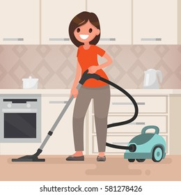 Woman housewife vacuuming the room. Vector illustration in a flat style