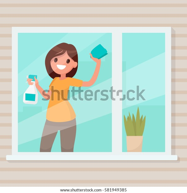 Woman housewife wipes dust from a window in the house. Vector illustration in a flat style