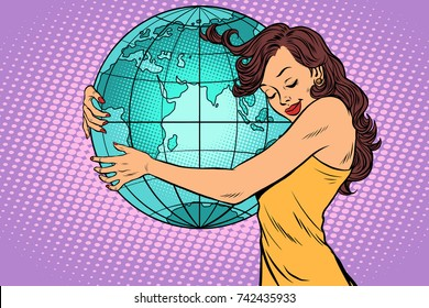 woman hugging the earth continent of Africa and Eurasia