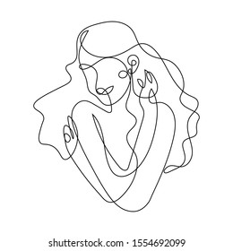 Woman hugging herself in continuous line drawing, Love your body concept,  Isolated on the white background, vector illustration monochrome, Drawing by lines, Minimalist Style.