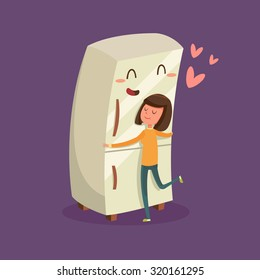 Woman Hugging Refrigerator