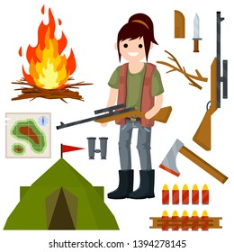 Woman hunter with gun. Survival kit in woods. Equipment for hunting animals. Sniper with rifle with a scope. Fire of sticks, map, tent, ax, ammunition, knife, camp, binoculars. Active rest and sport