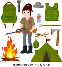 Woman hunter with gun. Survival kit in the woods. Tent, fire, ax, wood, backpack, green clothes, flashlight. Sniper with rifle with scope. Equipment for hunting animals