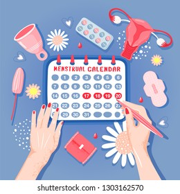 Woman hygiene concept. Woman marks monthly in the calendar. Illustration with woman hands, menstrual cup, tampon, uterus, monthly calendar, sanitary napkin, chamomile and blood. Vector illustration.
