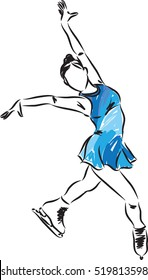 woman ice skating illustration