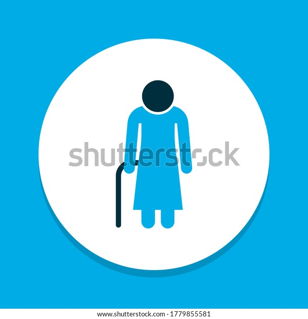 Woman icon colored symbol. Premium quality isolated old element in trendy style.