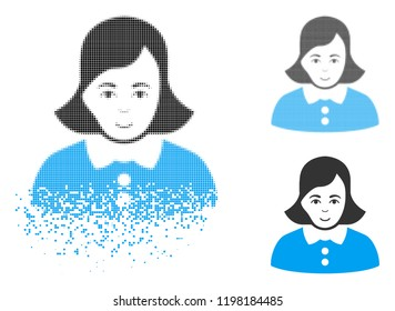 Woman icon with face in disappearing, dotted halftone and undamaged whole versions. Points are combined into vector disappearing woman icon. Disappearing effect uses small fragments.
